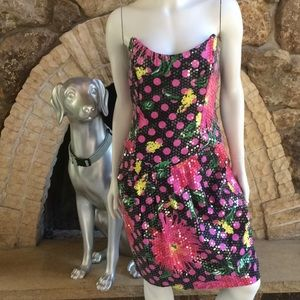 Vintage Raul Blanco Sequin Floral Strapless Dress